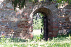 Medieval monastery garden gate Stock Photos