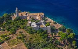 Medieval monastery on the island Lopud. In Dubrovnik archipelago Stock Photo