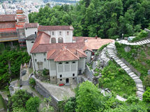 Medieval monastery in Switzerland. Madonna del Sasso Stock Images