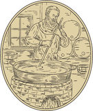 Medieval Monk Brewing Beer Oval Drawing. Drawing sketch style illustration of a medieval monk brewer brewing beer in brewery with barrel in background viewed Stock Photos