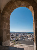 Medieval moorish fortress Alcazaba in Almeria, Eastern tip is the bastion of the outgoing, Almohade Arch of South Tower. Almeria, SPAIN - May 20: Medieval Stock Photography