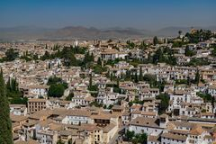 View of Granada city from Alhambra fortress, Spain stock photography