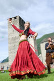 Medieval music group featuring a belly dancer at Castelgrande ca Stock Photography