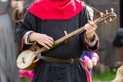 Medieval musical instrument. At the knight festival in Poland royalty free stock images