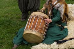 Medieval musical instrument. At the knight festival in Poland royalty free stock photography
