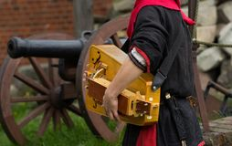 Medieval musical instrument. At the knight festival in Poland stock photos