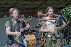 Medieval musician. Visby, Gotland island / Sweden -  August 5: Traditional medieval festival with concerts, market and people dressed with medieval costumes Stock Photos