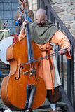 Medieval musician playing the big old double bass  in The castle Chudow Royalty Free Stock Photo