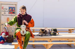 Medieval musician with rebec in arroyomolinos Stock Photos