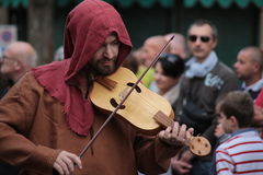 Medieval musician. 28 september 2015 - Cittadella (Italy)  a representation and recostruction of medieval world during Voci dell'Evo di Mezzo 2015 Stock Images