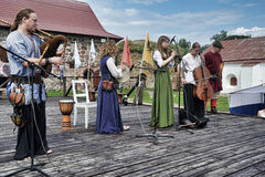 Medieval musicians at the festival Stock Photography