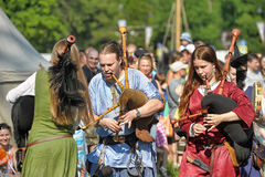 Medieval musicians at the festival Stock Image