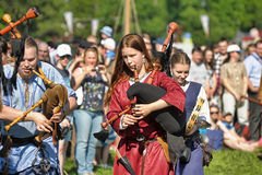 Medieval musicians at the festival Stock Images