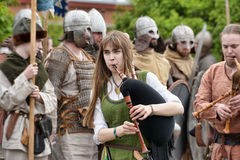Medieval musicians at the festival Royalty Free Stock Images