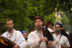 Medieval musicians, Tata, Hungary Royalty Free Stock Photo
