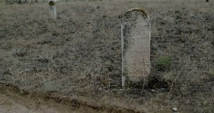 Medieval muslim tombstones on Old Tartar Cemetery stock footage