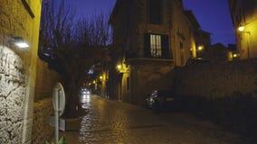 Medieval narrow cobblestone street in Valdemossa village at night. Mallorca, Balearic Islands, Spain stock footage