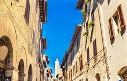 Medieval Street Stone Cuganensi Tower San Gimignano Tuscany Ital stock image
