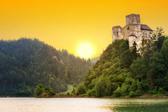 Medieval Niedzica Castle at Czorsztyn Lake. In Poland stock photos
