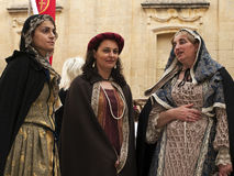 Medieval Noble Women. MDINA, MALTA - APR19 -  Noble woman during medieval reenactment in the old city of Mdina in Malta April 19, e Stock Images