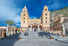 Medieval norman Cathedral in Cefalu Sicily Italy Stock Image