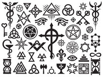 Medieval Occult Signs And Magic Stamps Stock Image