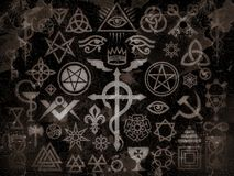 Medieval Occult Signs And Magic Stamps (Vintage Grime Edition) vector illustration