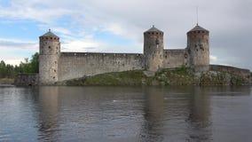 The medieval Olavinlinna castle, cloud day in june. Savonlinna, Finland stock video