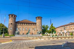 Medieval old Acaja Castle with brick towers and monuments stock photo