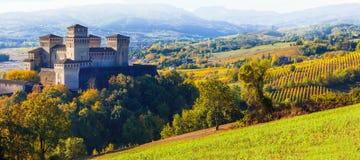 medieval old castle of Torrechiara, Parma Stock Image