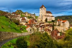 Saint-Cirq-Lapopie, one of the most beautiful villages of France royalty free stock images