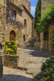 Medieval old town cityscape in Pals, Catalonia Royalty Free Stock Images