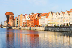 Medieval old town embankment, Gdansk. Medieval old town embankment and river Motlawa, Gdansk ,  Poland Royalty Free Stock Image