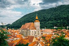Medieval old town panorama view with Black Church and Tampa mountain in Brasov, Romania