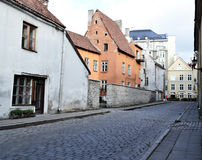 Medieval old town street view of Tallinn. Ancient architecture and spectacular street view of Tallinn city - medieval pearl of Europe Stock Photography