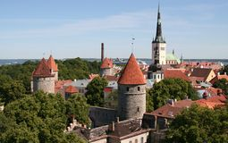 Medieval old town of tallinn Stock Images