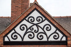Medieval ornament in the timbered building roof Stock Photography