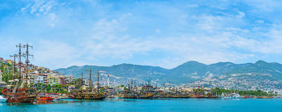 The medieval Ottoman fleet. Docked in old marina and waits for the tourists, offering romantic trips along the coast, Alanya, Turkey Stock Image