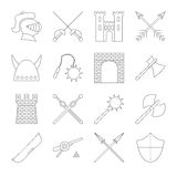 Medieval outline icons set Stock Photo