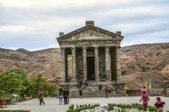 Medieval pagan temple of the pre-Christian period built in honor of the Sun God Mithra in the village of Garni located near Yereva. Garni, Armenia, October 20 royalty free stock photography