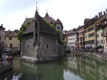 Medieval palace 2 - Annecy. Close up view of the 12th century  Palais de l'Isle,located close to the Thioux River,  Annecy, Haute Savoie,France. It became a jail Stock Images