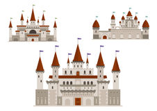 Medieval palaces or castles with towers and spires Stock Image