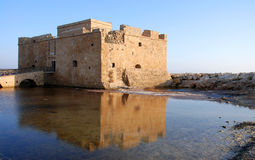 Medieval Paphos Castle. At paphos harbor in Cyprus late in the evening. A famous travel destination landmark Royalty Free Stock Images