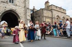 Medieval parade, Canterbury Kent. Canterbury, Kent, United Kingdom - 8 July 2017: People parading at the yearly traditional historical medieval parade at the Stock Photo