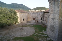 Medieval parade ground. View of the medieval Castle, Sermoneta, Italy royalty free stock images