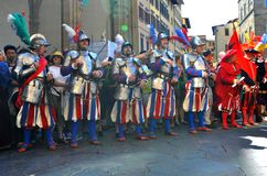 Medieval parade in Italy. Medieval reenactment is a form of historical reenactment that focuses on re-enacting European history in the period from the fall of Royalty Free Stock Photo