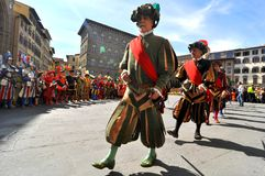 Medieval parade in Italy. Medieval reenactment is a form of historical reenactment that focuses on re-enacting European history in the period from the fall of Stock Image