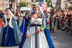 Medieval parade on the streets of Alba. Royalty Free Stock Image