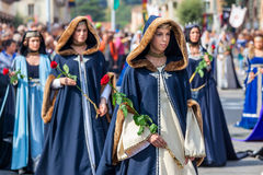 Medieval parade on the streets of Alba. Stock Photo