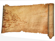 Medieval parchment and ancient map. Royalty Free Stock Image
